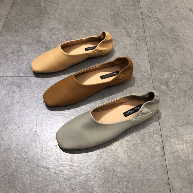 韩国东大门同款两穿乐福鞋浅口平底奶奶鞋ins方头踩跟软底瓢鞋女