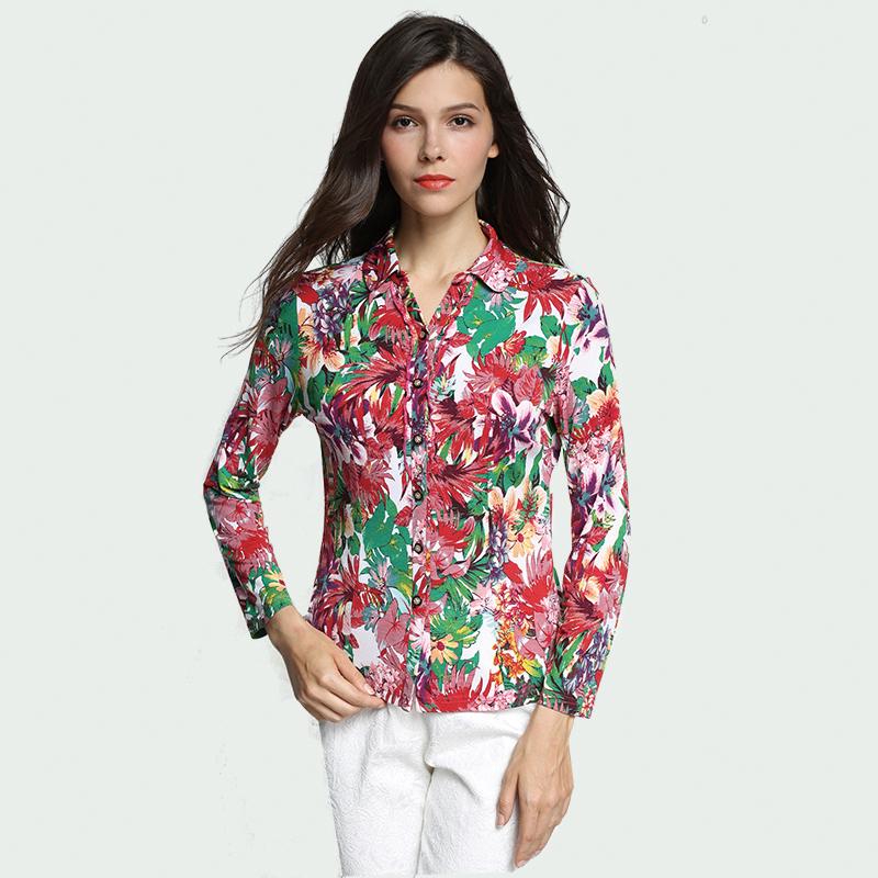 泰勒菲尔品牌妈妈装春装新款印花上衣中年女装夏装修身款长袖衬衫