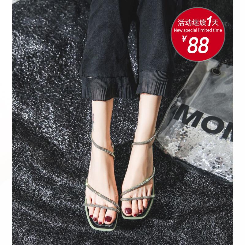 【福利价 88】凉鞋女2020新款夏高跟时尚水钻中跟粗跟百搭仙女风