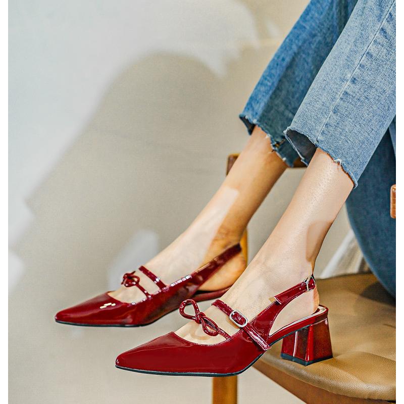 【新品价 98元】2020春季新款春秋中跟玛丽珍网红粗跟尖头单鞋女