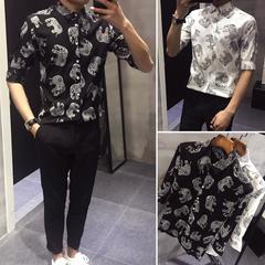 印花麻料 长期供货 中袖男装休闲韩版修身衬衫男士衬衣TC14F60