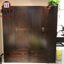 新中式简约衣柜衣物收纳柜带抽屉衣橱卧室酒店样板房别墅家具定制