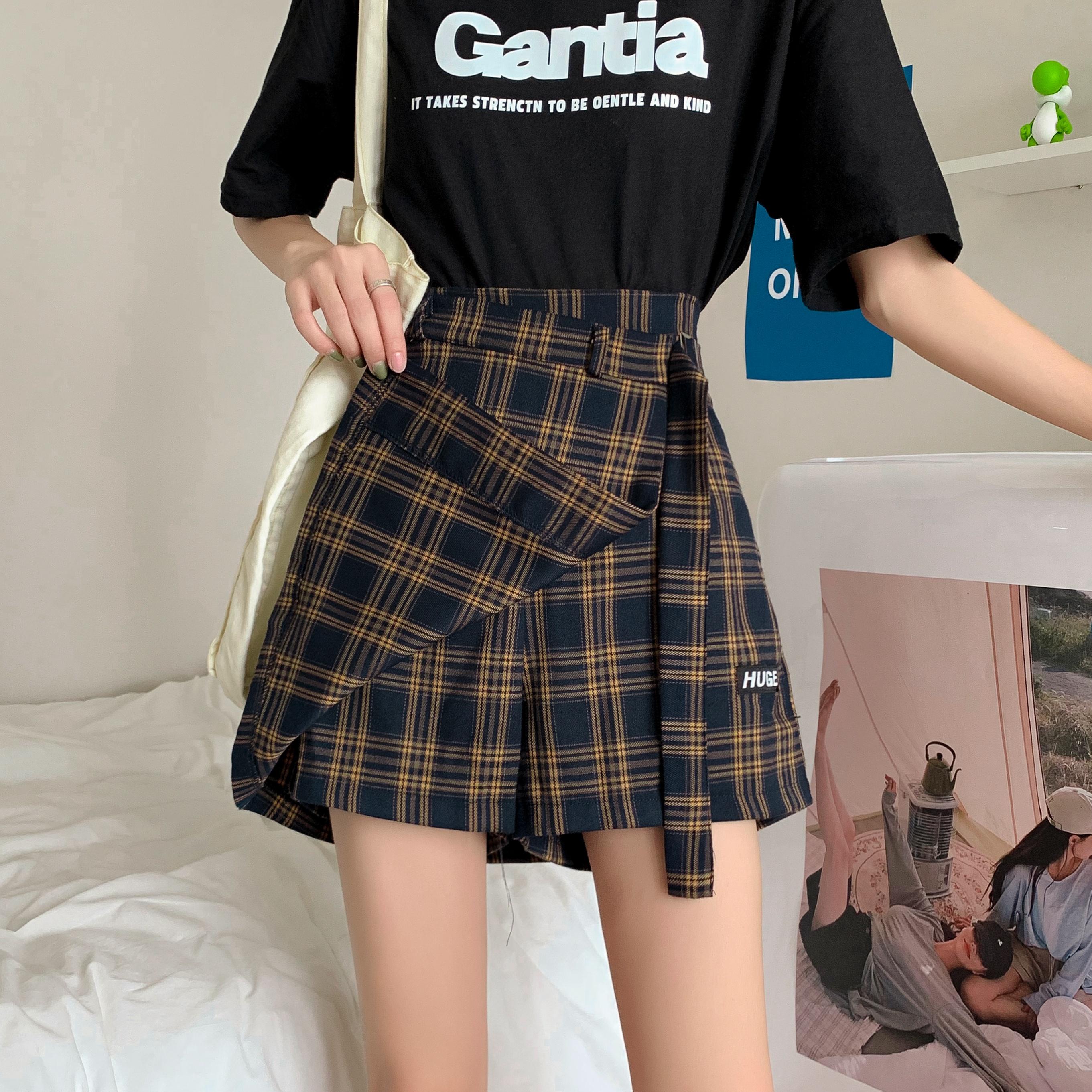 假两件不规则格子半身裙女2021春夏韩版大码胖mm显瘦A字阔腿裤裙