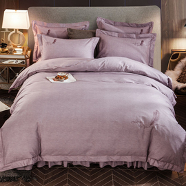 北欧式简约家用床上四件套床裙款全棉纯棉加厚夹棉床罩带床笠防滑图片