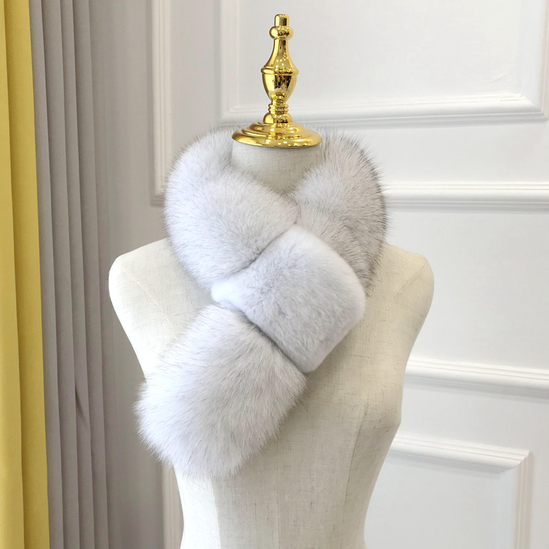 Fox hair collar new Korean version womens winter fur scarf solid color real hair thickened collar