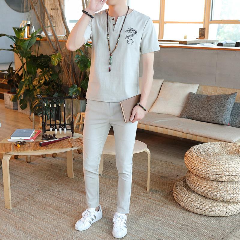 夏款套装男士棉麻刺绣中国风休闲套装两件套电商A158-Y89-P38
