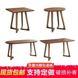 实木咖啡桌北欧茶几圆桌阳台桌几会客桌实木圆形小方桌咖啡快餐桌
