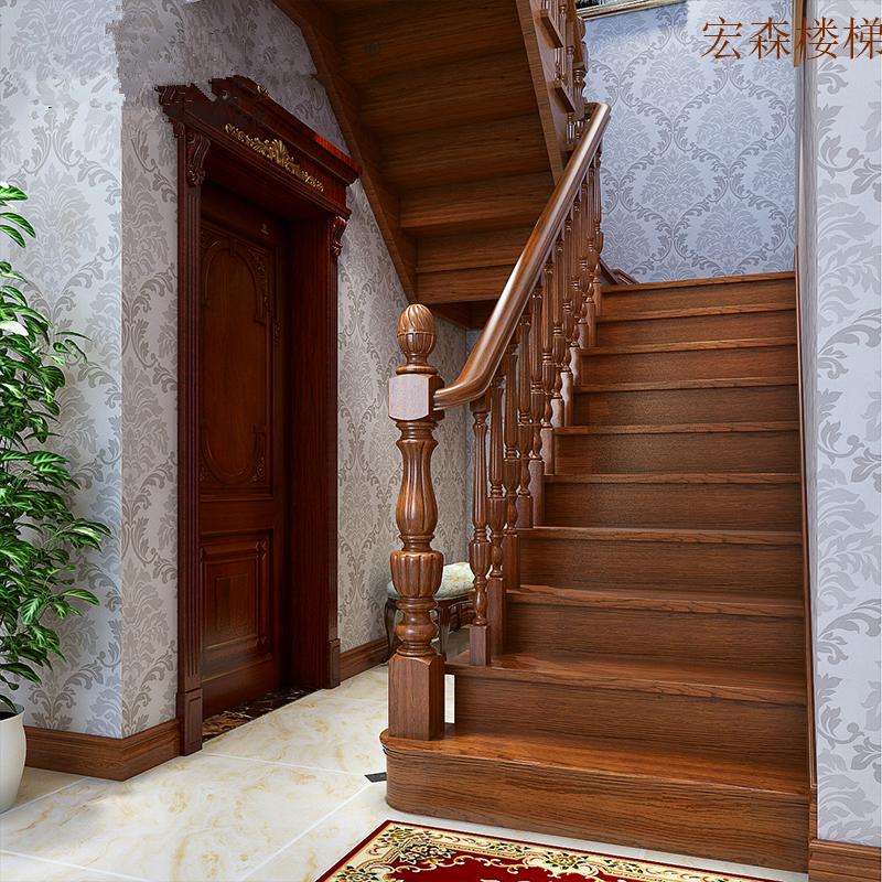 成都定制阁楼复式别墅欧式北欧旋转实木整体楼梯护栏扶手踏步板