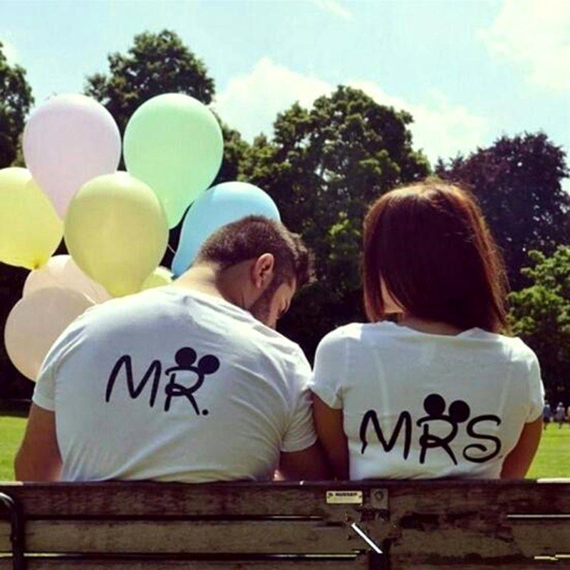 t-shirt men women lovers Letter couple tshirt mr mrs 2018