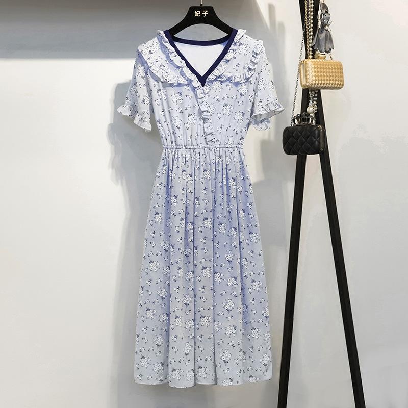 妃子2018夏季新品修身显瘦优雅碎花荷叶边V领中长款连衣裙1180RY