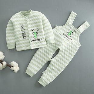 宝宝三层保暖婴儿夹棉背带裤内衣