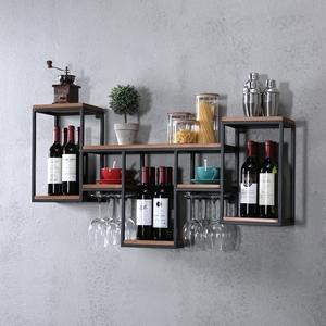 欧式铁艺实木酒架置物架壁挂红酒架创意餐厅装饰墙上酒柜酒杯架