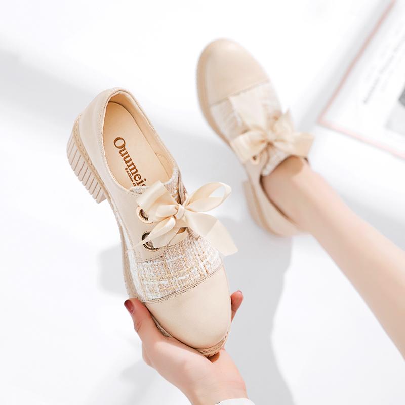 傲麦高跟鞋子女2020年新款仙女小皮鞋粗跟单鞋女夏百搭小香风女鞋