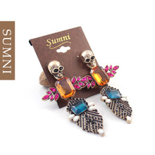 Sally, Europe and the United States to restore ancient ways female fashion earrings ShanZuan skeleton exaggerated personality eardrop of punk stud earrings