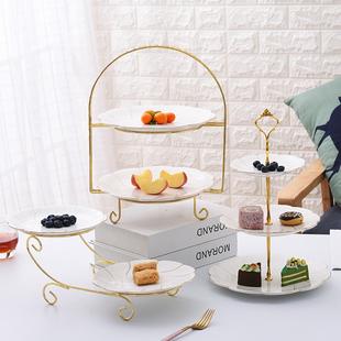 欧式 三层水果盘创意客厅双层蛋糕架下午茶甜品台糖果点心托盘套装