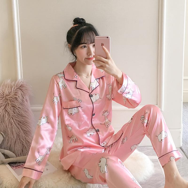 睡衣女春秋长袖薄款性感韩版开衫夏季冰丝女士家居服丝绸套装大码