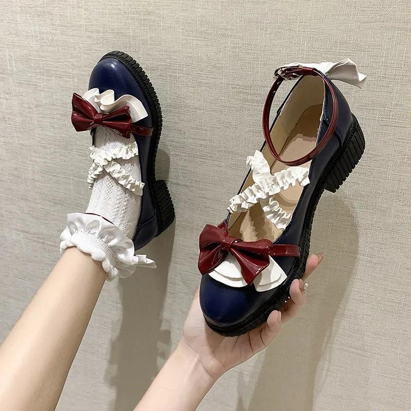 Autumn winter white Xueji Lolita small leather shoes female Lolita student shoes round head JK uniform shoes bow single shoes fashion