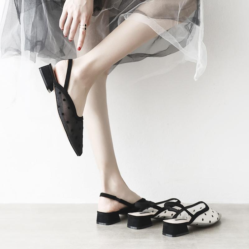 包头凉鞋女仙女风学生粗跟方头202019夏新款网纱中跟网红温柔鞋
