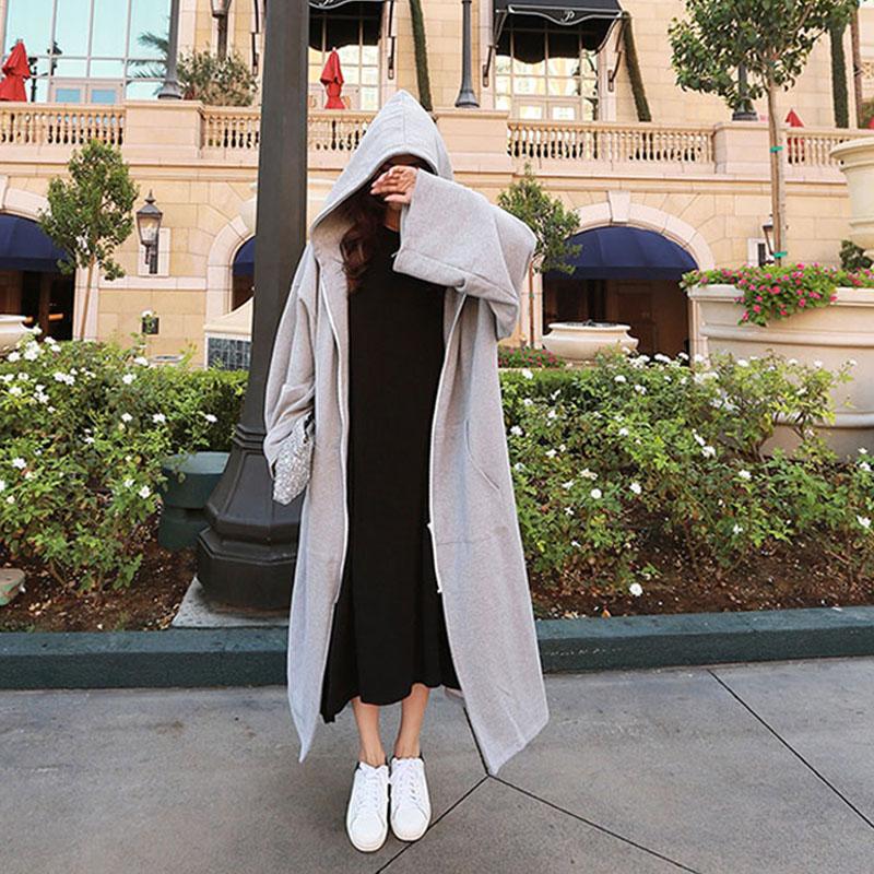 秋冬季韩版开衫全棉卫衣女加绒长款过膝大码bf风外套女宽松显瘦