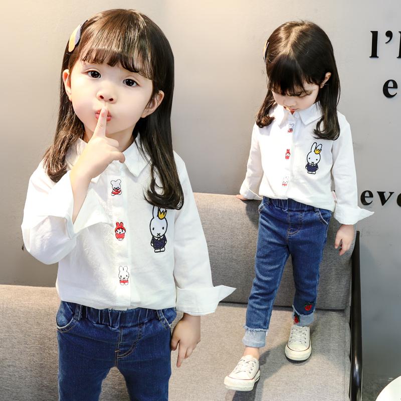 婴儿童装女宝宝春秋装上衣女童长袖衬衫小女孩纯棉衬衣服洋气秋季