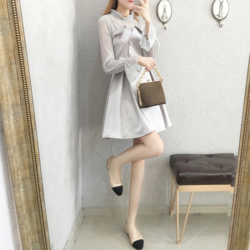 Mesh stitching fake two piece flared sleeve dress spring fashion round neck long sleeve zipper pleated skirt sweet skirt
