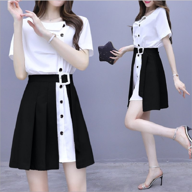 Fashionable Chiffon solid dress womens 2020 new summer irregular two piece skirt with slim high waist suit