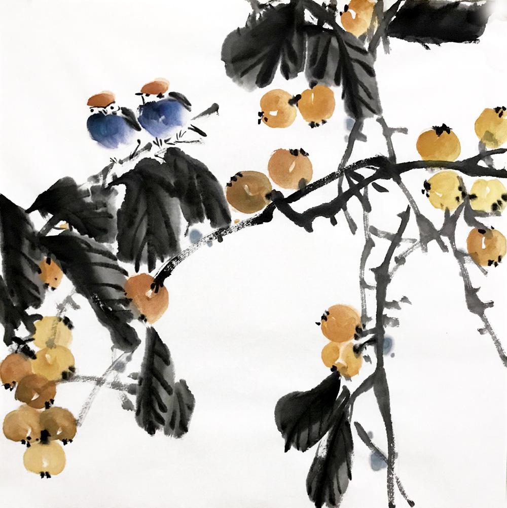 水墨無款手繪中式玄關書房客廳國畫50cm*50三尺斗方3827枇杷小鳥