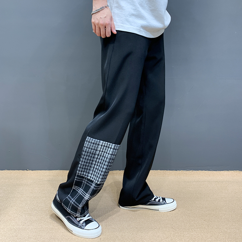 Summer fashion design sense contrast Plaid casual pants mens Korean version drape sense versatile trousers fashion brand long pants