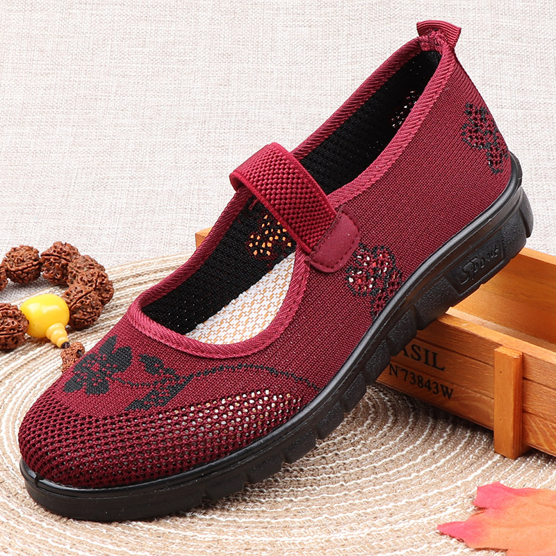 Summer old ladys shoes mesh shoes breathable low top low face soft sole light old mothers shoes old womens sandals