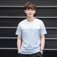 2017纯色拼接短袖T恤 纯棉圆领夏季新品男士体恤修身上衣1737#