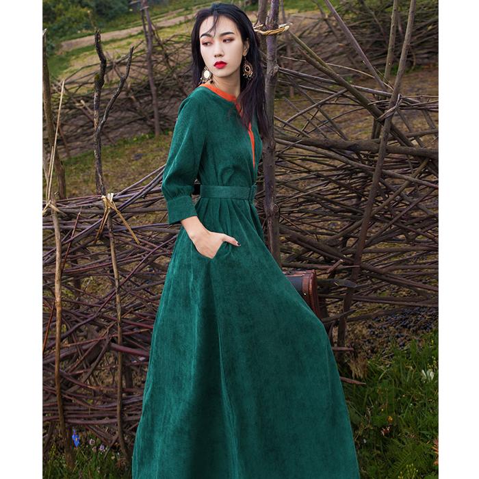 复古七分袖大码灯芯绒秋气质连衣裙
