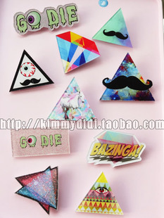 Japanese Harajuku style ZIPPER triangular beard eye psychedelic universe Star unicorn brooch badges badges