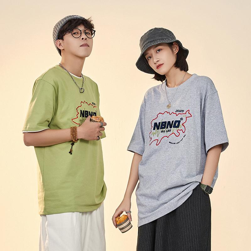 NBNO夏季新款创意刺绣潮牌短袖男ins潮宽松圆领日系T恤@苏醒同款