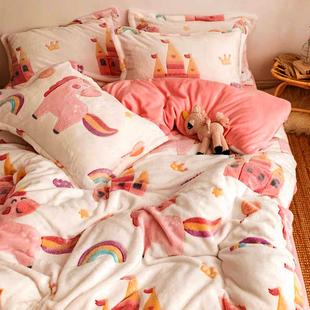 儿童床上用品四件套冬季三件套宝宝绒法兰绒珊瑚绒床单被套牛奶绒品牌