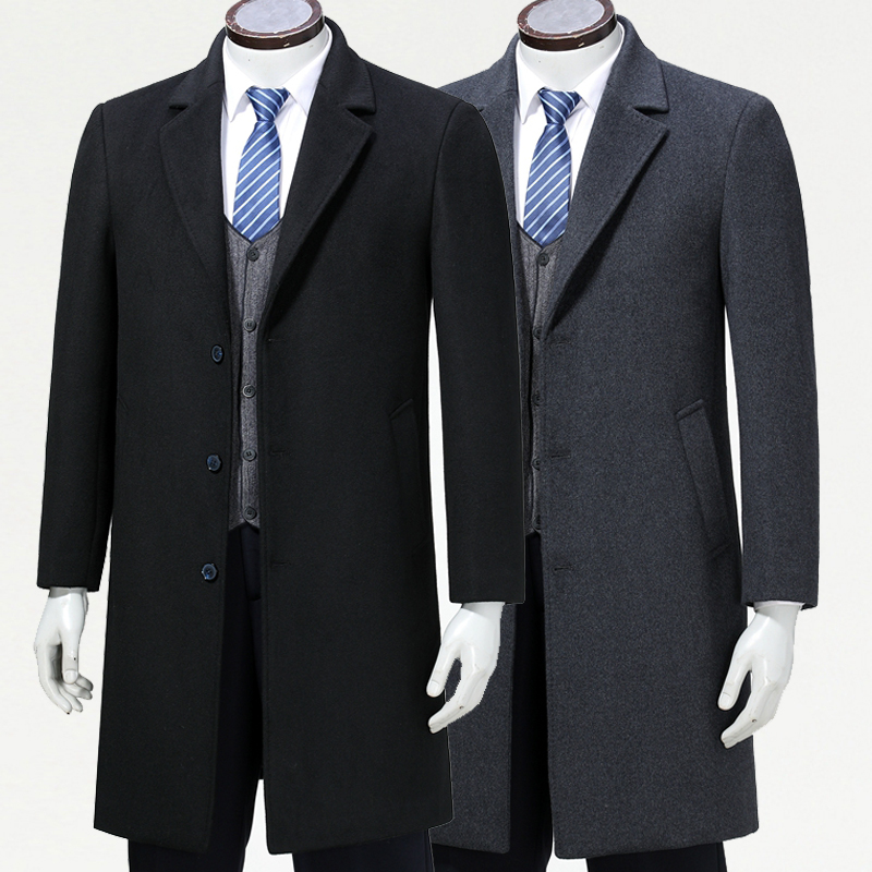 High end business casual cashmere coat windbreaker men's British long suit collar men's wool coat dad's