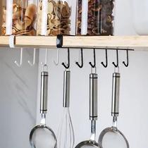 厨房橱柜挂钩悬挂式免钉免打孔衣柜隔板下领带围巾置物收纳架钩子