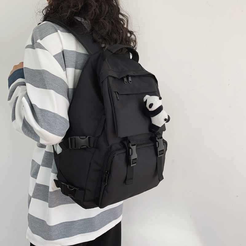Dark series schoolbag female Korean high school Yuansu ulzzang junior high school student male large capacity ins cool shoulder bag