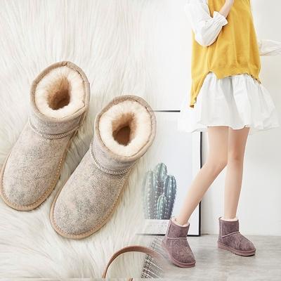 反季牛皮雪地靴女冬季加绒显瘦短筒靴子皮毛一体学生加厚保暖棉鞋
