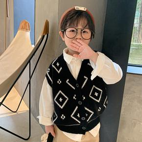 男童马甲毛衣2021春装韩版纯棉毛线上衣儿童潮款宝宝坎肩针织背心