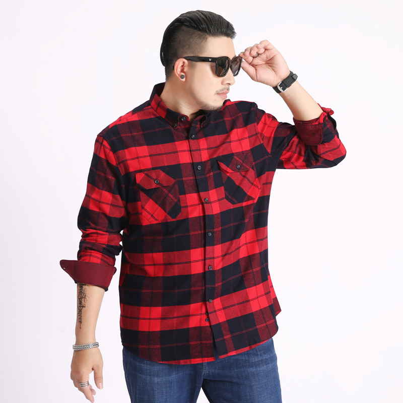 Extra large 300 kg mens Long Sleeve Plaid Shirt cotton 200 fattening plus 240 size 220 autumn shirt