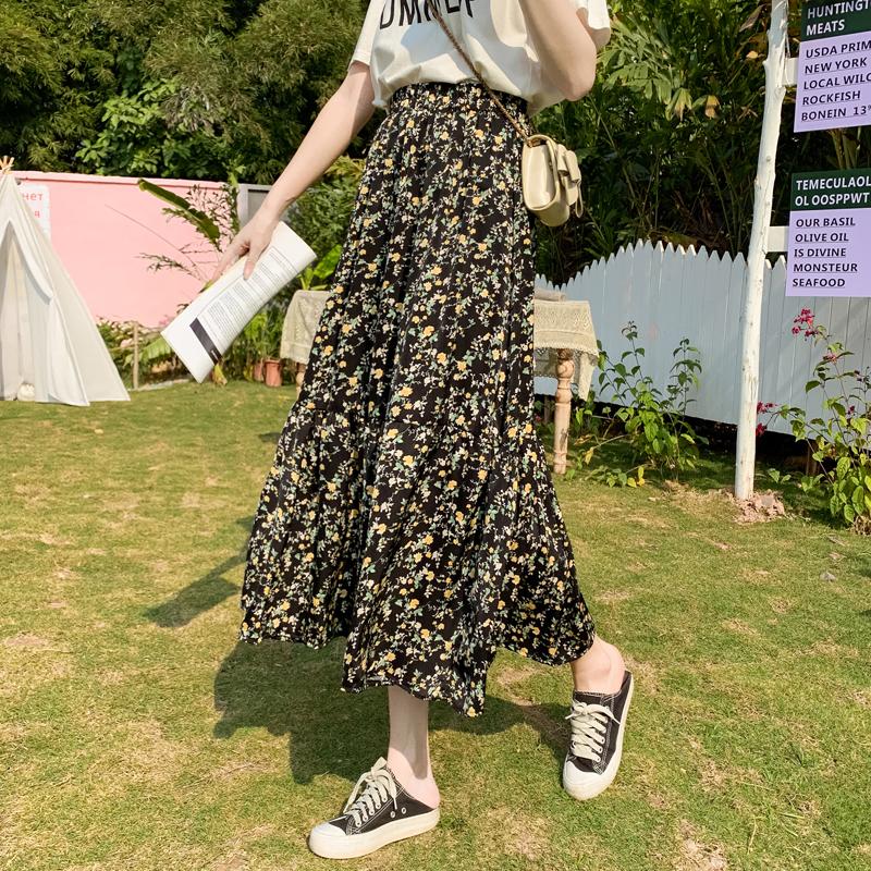 碎花裙半身长裙女2021夏季新款高腰显瘦中长款宽松大摆雪纺A字裙