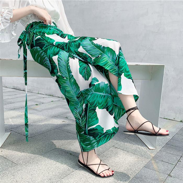 泰国度假裙子女2019新款一片式半身裙系带雪纺长裙不规则碎花裹裙