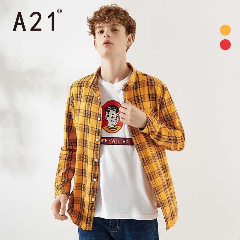 A21秋冬季2019新款男装 格子男士衬衫休闲长袖衬衣纯棉外套男潮流图片