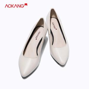奧康女鞋 新款真皮OL職場中跟粗跟尖頭包頭淺口純色女單鞋工作鞋