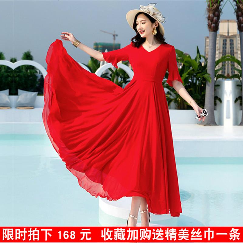 2021新款夏季沙滩长裙红色雪纺连衣裙女长款大摆显瘦超长裙子仙黑
