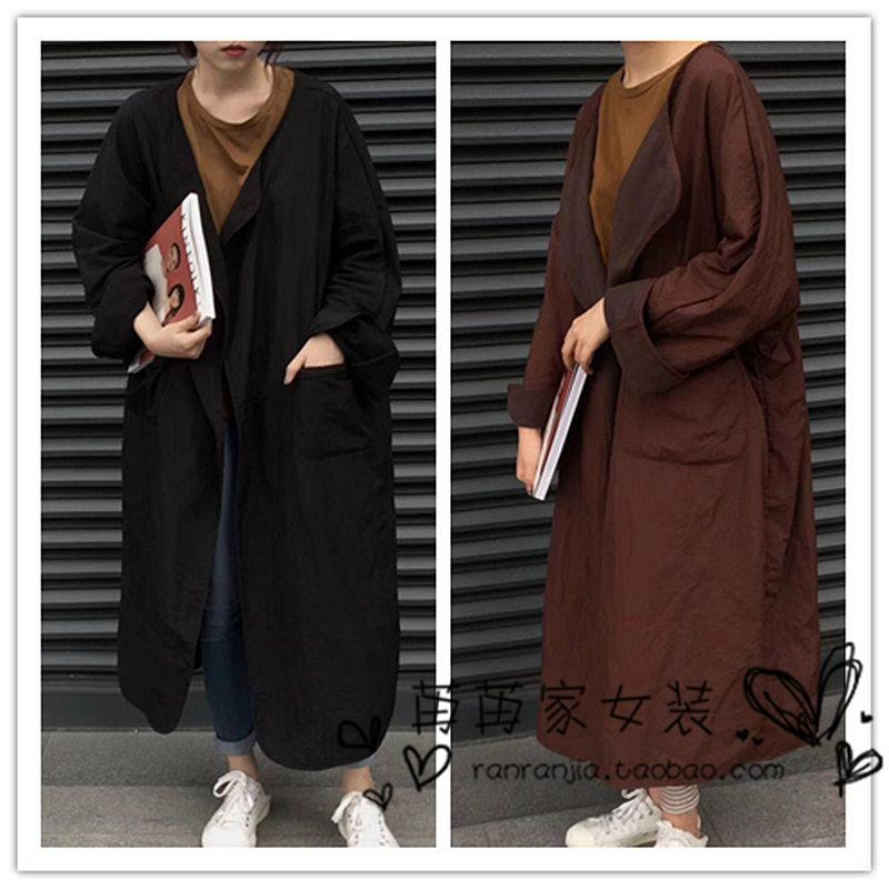 European station autumn and winter womens 2018 new medium and long loose large size large version buttonless and suede windbreaker coat fashion