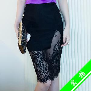 384-1#实拍韩版夏装新款女装蕾丝透视半身裙女高腰包臀一步裙子夏