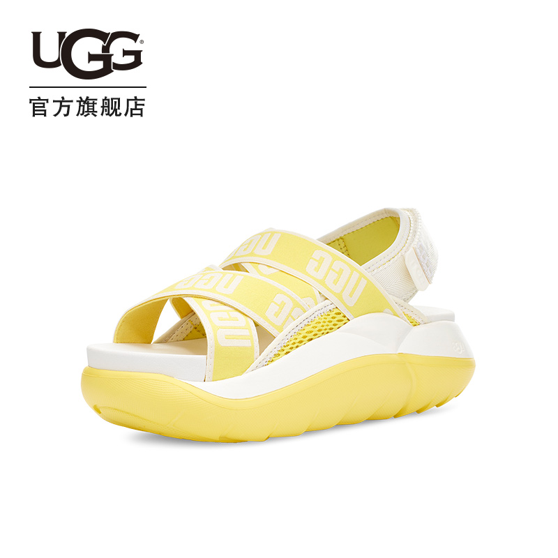 Ugg2020 spring and summer new women's single shoe flat sole breathable elastic open toe muffin sandal 1110090