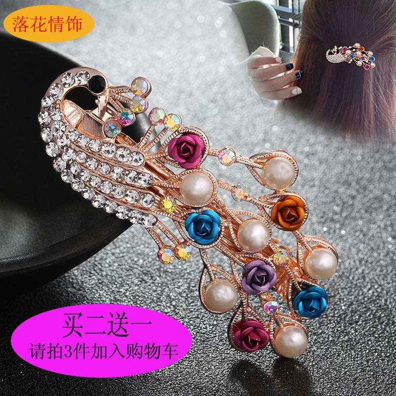 韩国新品水钻发夹刘海一字边夹孔雀花朵顶夹头饰发卡横夹弹簧夹子