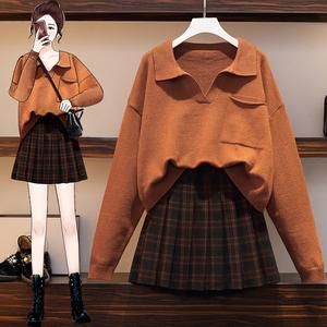YF26563# 大码女装秋冬新款微胖妹妹显瘦毛衣百褶裙子两件套装